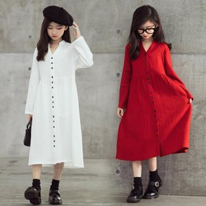 6Y To 16Y Girls Dress 2020 Kids Clothes Children V-neck Dress Baby Midi Mommy and Me Fall Beach Ruched Cotton,#5646
