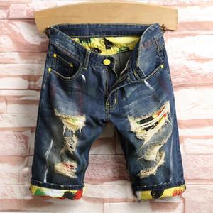 Мужчины разорванные джинсы мужские дыры джинсовые шорты мода мужчины джинсовые джинсы тонкие прямые брюки тренд мужские стилисты брюки