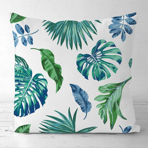 Custom Decorative Pillowcase Fresh Tropical Green Leaves Square Zippered Pillow Cover (One Side)20-0608 Pillow Case
