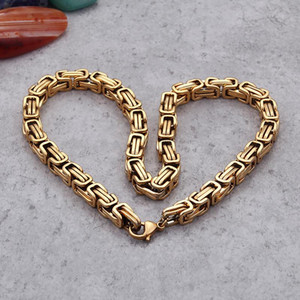 Hip-hop Gold 5mm 6mm 8mm Brand new Stainless Steel Fashion Byzantine Chain Necklace Bracelet Hip-Hop Mens Women Jewelry 8''-24''
