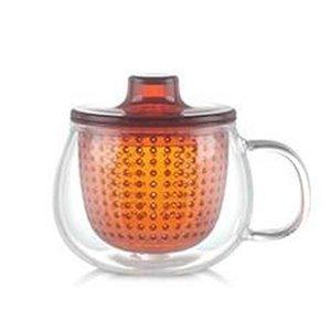 Fashion Clear Glass Tea Cup Mug with Tritan Infuser and Lid for Loose Leaf Tea 12oz Heat Resistance Borosilicate Glass Tea for One Gift
