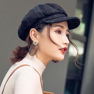 das mulheres Hat Inverno Fashion Style Cap britânica Casual Beret manta de lã octogonal Hat exterior da manta impressão Painter