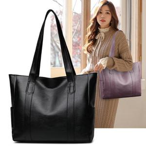 Fashion Solid Color Top-handle Bag Autumn PU Leather Shoulder Satchel Portable Street Daily Handbag Large Capacity Shopping
