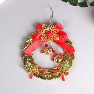 arco de Navidad Garland adorno de Navidad Corona carillón de viento pequeño colgante galvanoplastia campana letrero pendiente accesorios T3I51333