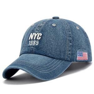 New Brand NYC Denim Baseball Cap Männer Frauen Stickerei Brief Jeans Hysteresen-Hut Casquette Summer Sports USA Hip Hop Cap GorrasX1016