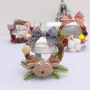 Natale Mini corona in rattan simulazione Corona pendente dell'albero di Natale Fiore Stella rattan contatore finestra decorazione della parete appeso T3I51331