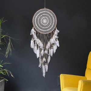 Large Size 110 centimetri Dreamcatcher netto con le piume Wind Chimes a mano all'uncinetto White Lace Dream Catcher parete appeso decorazione domestica Wedding