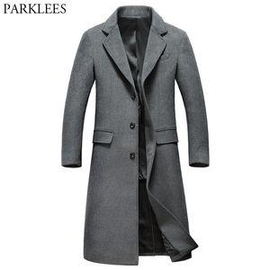 Abriga de lana gris extra larga Hombres a estrenar Invierno para hombre Slim Fit Cashmere Coat Single Breasted Male Outcoat Windrooker LJ201110