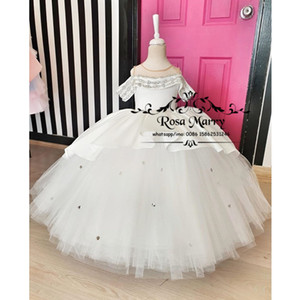 Lovely Crystals White Ball Gown Girls Pageant Dresses 2020 Knot Bow Plus Size Christmas Cupcake Birthday Party Gowns For Kids Toddlers
