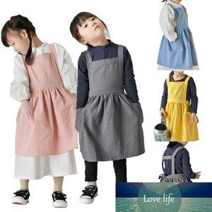 Niños Japonés Algodón Lino Babero Delantal Cocina Horneado Uniforme Lado Boys Boys Girls Craft Delantales Pintura Cocinar Bebé Pinafore
