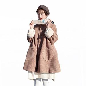 2020 Autumn Winter New Korean Women Woolen Coat Stand Collar Single Breasted Loose Lamb Hair Plus Velvet Pink Plaid Jacket LQ242