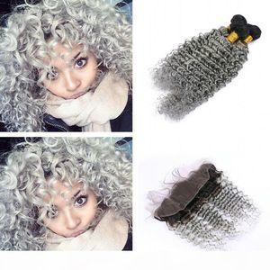 Ombre Color 1b gris extensión de cabello rizado profundo con cierre frontal completo raíces oscuras onda profunda 1b pelo gris 3bundos con encaje frontal