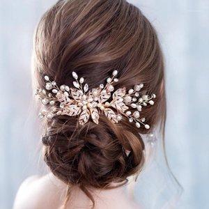 Npason Strass Blatt Perle Haarkamm Stirnband Braut Haar Blume Perlen Stirnband Hochzeit Braut Tiaras Kamm Kopfschmuck1