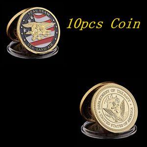 10шт позолоченный Сувенирная монета США Sea Land Air Of Seal Team Challenge, монет Департамент ВМФ Военно-Coin