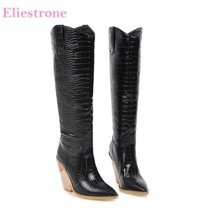 Brand New Comfortable Black White Women Knee High Dress Boots High Heels Lady Party Shoes LY10 Plus Big Size 10 43 45 48