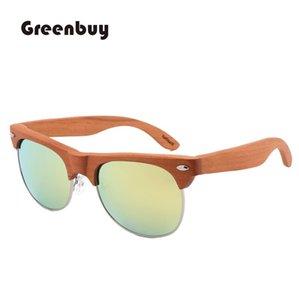 2020 Polarized sunglasses Woman man Wood sunglasses Half Metal Frame Fashion Trend UV400 Sun Glasses Eyewear half frame sunglass