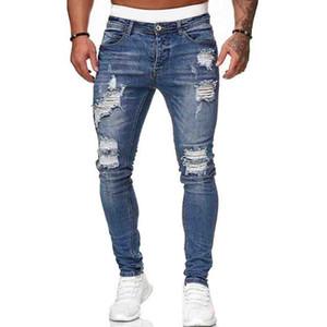 Мужские джинсы мода дыра разорванные джинсы повседневные мужчины узкие джинсы высокое качество промытые винтажные карандашные брюки 5 колора размером S-3XL