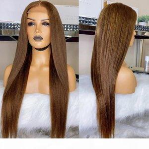 Темно-коричневые шелковистые прямые 13x6 кружева фронт человеческих волос парики с детскими волосами Preceded 360 Frontal Remy Silk Top Полное кружевное