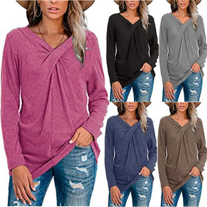Shirts Womens V Neck Long Sleeve Pullover Tops Solid Color Loose Women Casual tshirts OL Style T