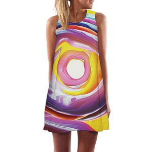 KYKU Brand Dress Women Vortex Short Graffiti Party Art Vestido Sexy Cartoon Boho Womens Clothing Summer