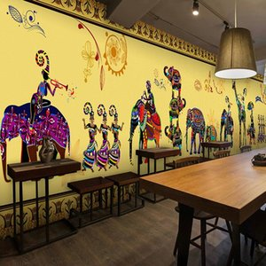 Custom 3d Wall Photo Mural Retro India style elephant wallpaper yoga fitness health museum for hotel large mural wall paper