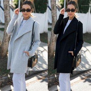 Пальто нагрудных шеи заплатка Straight вскользь пальто с Sash Зима Тонкой Верхней одеждой Solid Color Womens Trench