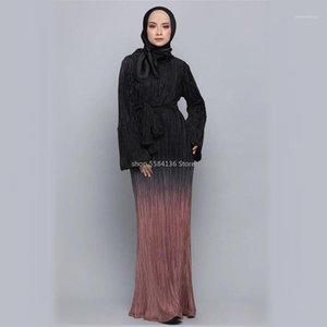 Мусульманские морщинистые карандаш юбка плит макси платье Maxi платье труба рукава длинные одежды туника Средний Восточный Рамадан арабская исламская одежда1