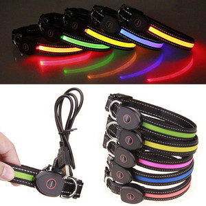 Rechargeable Led Dog Collar for Small Medium Large Dogs Flashing Light Collar Safety Pet Collar Adjustable Cat Collars Black Nylon Wholesale