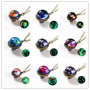 Pendant Necklaces Nebula Galaxy Noctilucent Double Sided Necklace Glass Art Picture Handmade Statement Universe Planet Jewelry For Women1