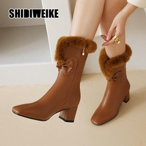 2020 fashion Winter Women Snow Boots Warm Mid-Calf Boots Square heel Slip On Casual Women pu Shoes v732