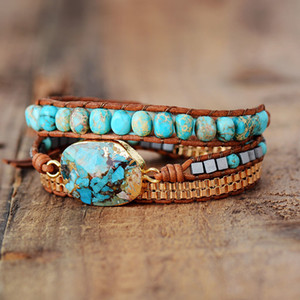 High End Leather Wrap Bracelet W  Stones Vintage Weaving Statement Art Chain Bracelet Jewellery Gifts