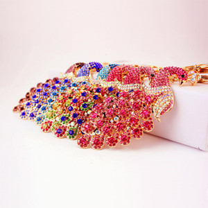 Bling 4 Peacock Colorful Rhinestone Colors Elegant KeyChain Peafowl Peahen Keyring Bag Pendant Car Key Chain Ring LASE