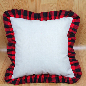 45*45cm Blank Sublimation Red Black Plaid Pillow Case DIY Thermal Transfer Linen Lace Throw Pillow Case Cushion Cover Decoration D102902