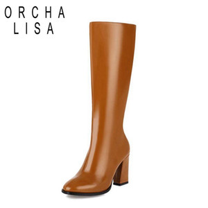 ORCHA LISA Womens Winter shoes knee high boots women warm fur chunky heels 9cm zipper leather booties black white big size15 16