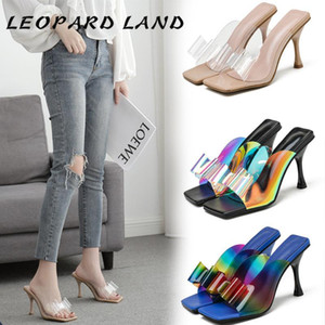 LEOPARD LAND 2020 Shoes Summer Fashion Shallow Boca Bow Mulheres chefe da Square Sandals Color Matching fina do salto alto das mulheres ZL
