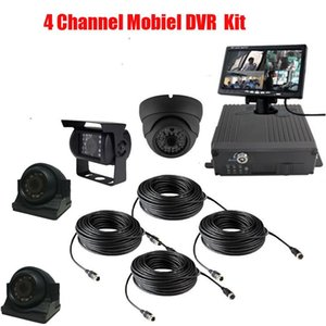 4 Channel Mobiel DVR Kit For Bus Truck Car Security 4*720P AHD Front SIde Rear View Cameras 7 inch LCD Monitor