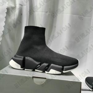Entraîneur de vitesse Steel Stretch-tricoter Mid -ner Sneakers 2.0 Hommes Formateurs Chaussettes Femmes Designer Stretch Chaussettes Chaussures Chaussures Spectacle Casual Chaussures