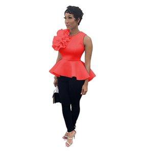Donne Ruffle Hem magliette Fashion Trend maniche girocollo sottile Tee Tops Designer femminile Estate Nuovo casuale sottile Shrink vita magliette