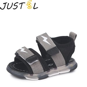 JUSTSL 2019 Summer Boys Sandals Children's LED Lights Shoes Girls Beach Shoes The Hollow Breathable Glowing Shoes