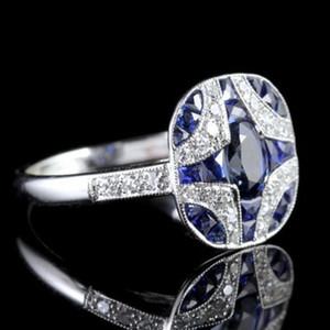 Kadın Takı Gümüş Alyanslar Çiftler için 925 Gümüş Safir Retro Yüzükler Dolgulu Kadın Nişan