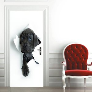 Probe Dog Head Wallpapers Decals Peeping Holes Modern Design Removable Por Pegatinas Door Stickers Diy 3D Mural for Living Room