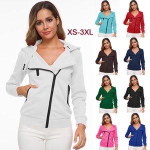 AKSR Women's Hooded Sweatshirt Hot Sale Oblique Zipper Fashion Beautiful Sexy Female Slim Long Sleeves Coat Multi-size XS-3XL 201007