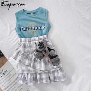 Gooporson Mädchen Outfits Sommer Brief gedruckt Ärmel Topplaid Rock Little Kids Kleidung Set Mode Kindermode 0930
