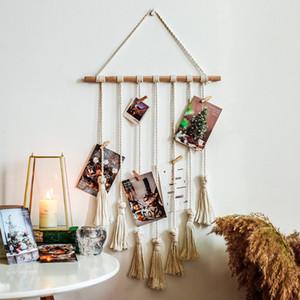 Tapicería colgante de pared de algodón Macrame manual tejido trenzado borla arte de pared hecha a mano colgante decoraciones caseras regalo vtky2325