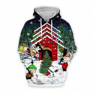Tessffel Noël animal Cartoon Père Noël coloré Casual Harajuku 3DfullPrint à capuche / Sweat / Veste / Chemises Homme Femme s-2 rYaV #