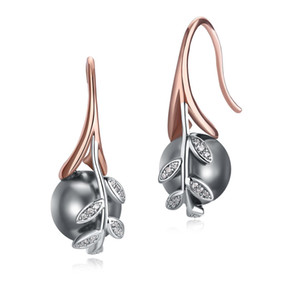 Fashion- Rose gold and White color Grey pearl & cubic zircon crystal Wholesale cheap jewelry lots Dangling earrings