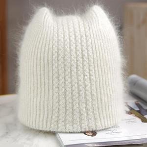 Simple Girl fur ear Beanie Hat for Women Winter Skullies Warm wool Cap Gorros Female Cap