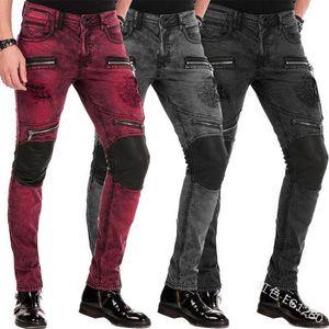 Мужские джинсы молнии Мужчины тонкий вскользь Плюс Размер низкой талией Тощий Джинс Полная длина Падение Мода карандаш штаны Lugentolo