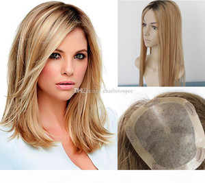 Free Shipping Balayage #2 6 27 Color Silk Top Human Hair Toppers for Women Clip in Top Hairpiece Toupee for Thinning Hair