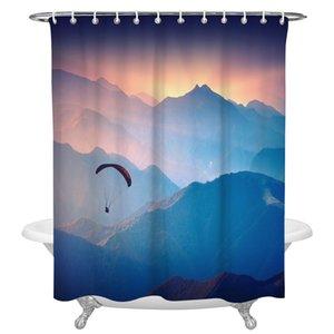 Yamaç Paşalı Sunrise Valley Duş Perdesi Ev Banyo Dekor Duş Perdesi Su Geçirmez Noel Duş Perdesi Q0121